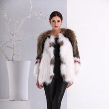 Wholesale High Quality Ladies Coat Winter Fashion Women Knitted Racoon Fur Collar Coat