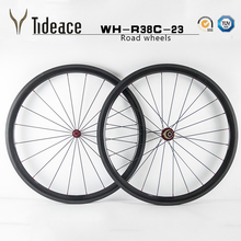 Tideace 700c carbon wheelset 38mm clincher wheels 23mm width rim with black Powerway R13 hubs/ Novatec 271 hubs