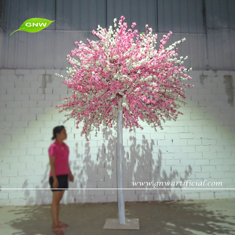 GNW BLS1507-15 8ft Decorative Indoor Artificial Tree in Pink and White Peach Blossoms for Weddings