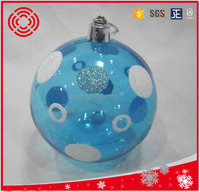 promotional lake blue transparent plastic christmas ball for tree decoratrion