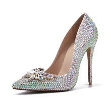 Colorful Rhinestone Pointed Toe Wedding Shoes Crystal Butterfly Sparkly High Heels Stiletto Cinderella Crystal Shoes