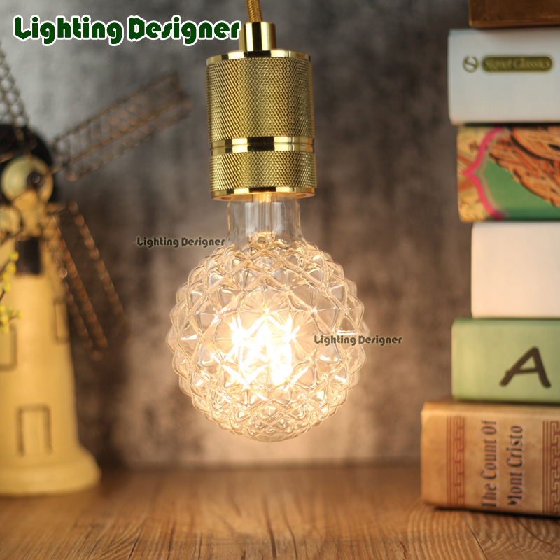 factory direct sale edison led filament bulb G95 pineapple glass clear glass amber glass 4W E27 BASE