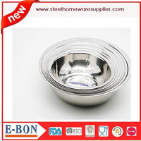 Stainless Steel Salad Bowl - serving dish bowl -Heavy duty Flat bottom Rolled-edge lip bowl