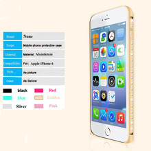 Rhinestone diamound bling Aluminium arc-curve metal bumper case cover for iPhone 6