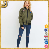 Fashion women's bomber jacket black military army green bomber jacket, cotton material bomber