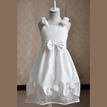 Vintage Flower Girl Wedding Dresses With Bowknot Satin White Princess Wedding Dress Girl Party Wear Western Dress
