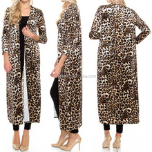 Custom Western Cowgirl Style Plus Size Animal Line leopard print Long Cardigan