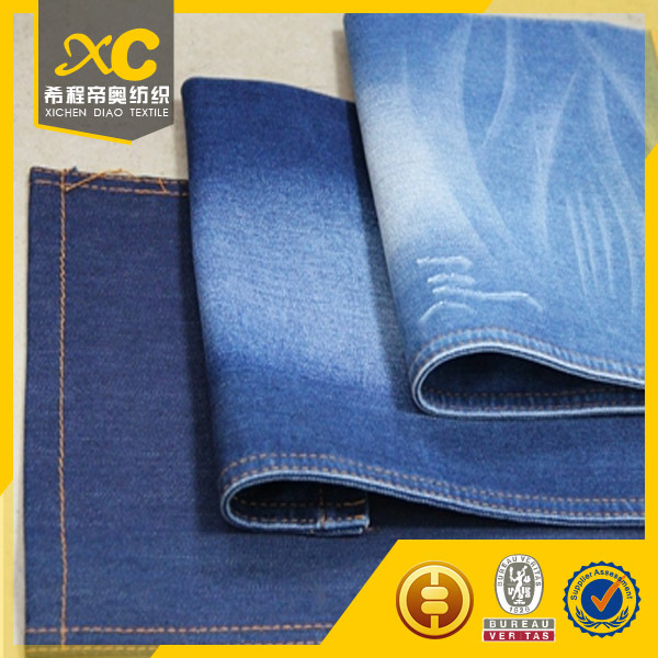 soften 98% cotton 2% spandex denim fabric construction for Relaxed Straight jeans