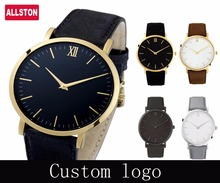 Quartz Genuine Leather Watch Band Men's Custom Printed Made Your Logo Design Custom Watches Made In China Quartz Watches