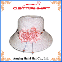HYSH179 white bucket straw mexico hats with pink flower