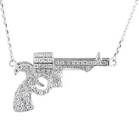 Fashion Fancy Gun Design Men Necklace Sterling Silver Jewelry Wholesale Hot Sale