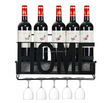 Metal Wall Mounted Wine Rack with Wine Cork Holder