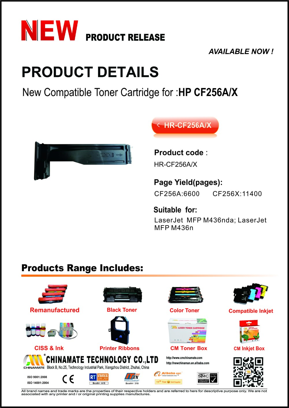 New Compatible toner Cartridge 256A/X For MFP436n/M436nda