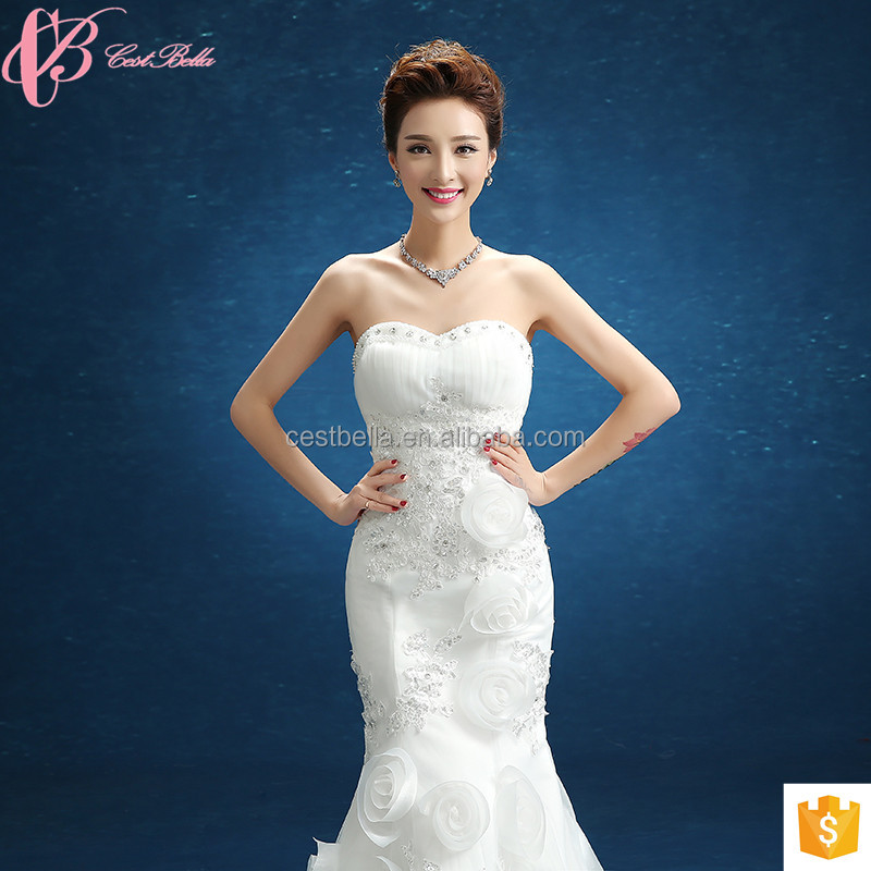 Cheap Appliqued Mermaid Stock Wedding Dress with Sequins and 3D Flower