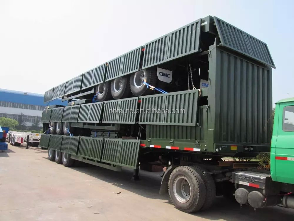 China hot sale 3 axle flatbed side wall semi truck trailer and 6x4 Sinotruk tractor truck