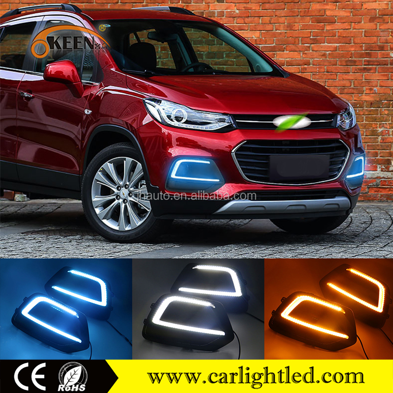 Auto Parts LED DRL For Chevrolet Trax 12V White Blue Amber IP67 car daylight Daytime Running Light For Chevrolet Trax 2016 2017