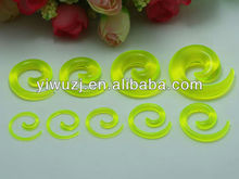 translucence green color acrylic spiral ear taper kits piercing jewelry ear stretchers