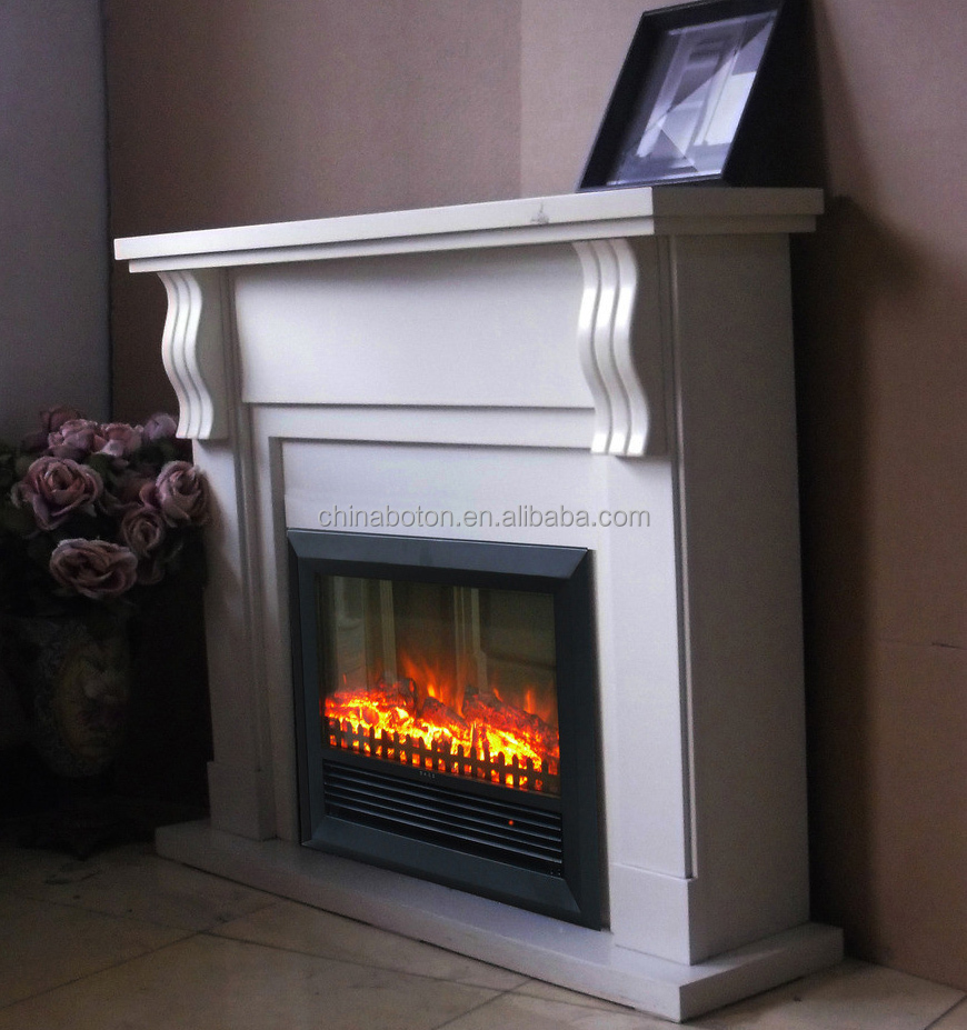 Fireplace with modern Design, Decorative Fake Flame Electric Fireplace Mantel Surround