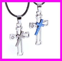 JD713 Valentines Day gift jewelry stainless steel silver cross couple necklace