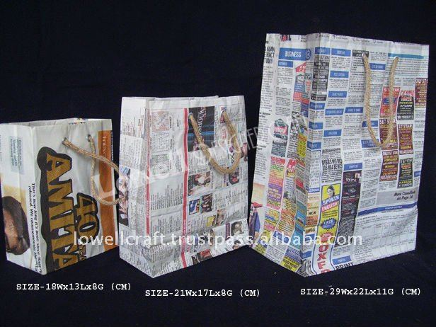 newspaper recycle shopping bag
