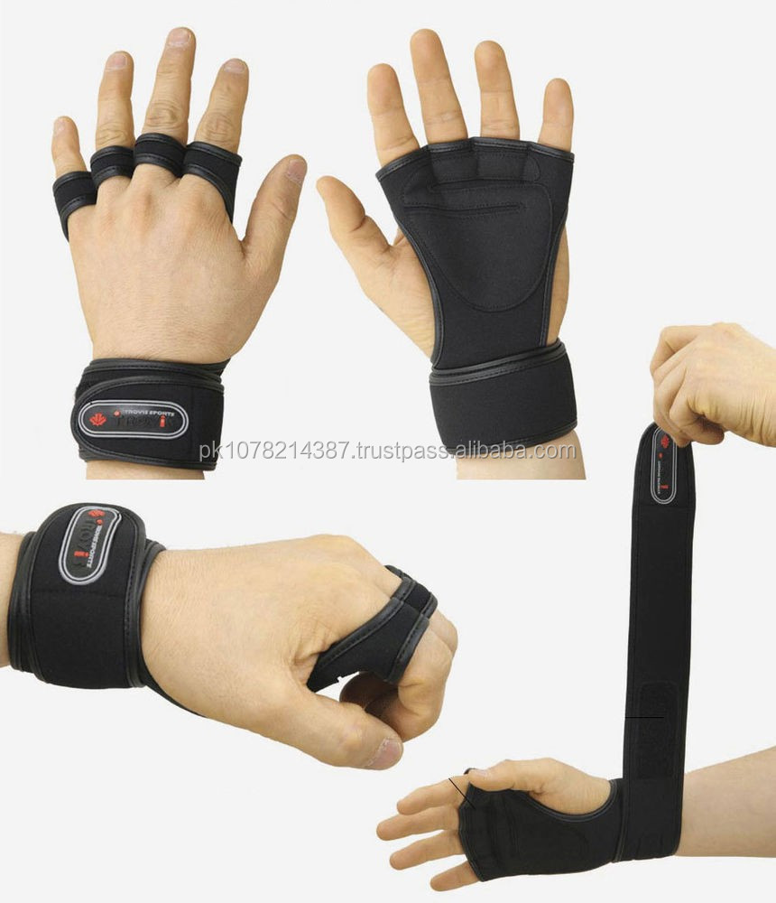 NEW 2015 WEIGHT LIFTING GLOVES SWEAT MATERIAL BLACK & WHITE COLOR