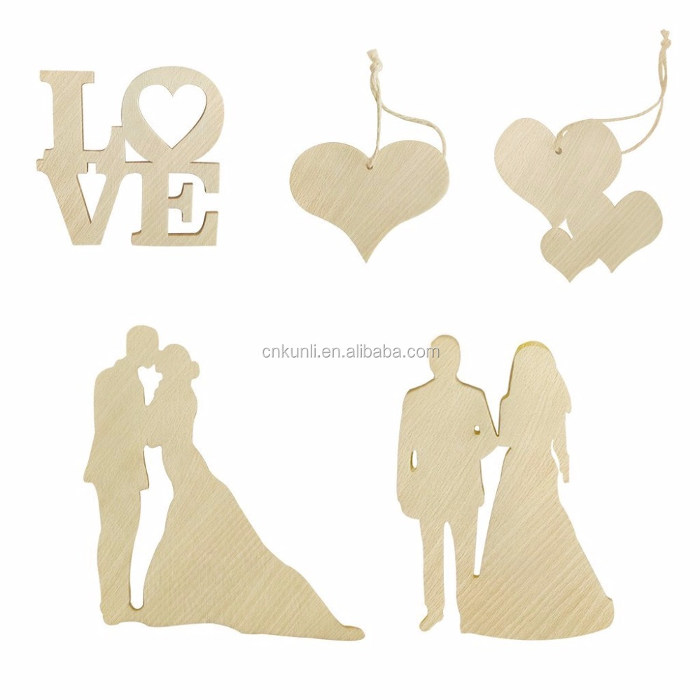 Hot Selling Unfinished Blank Wooden Hanging Wedding Gift Tags Decoration