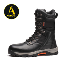 Side zip black genuine leather military combat safety boots men shoes safety working