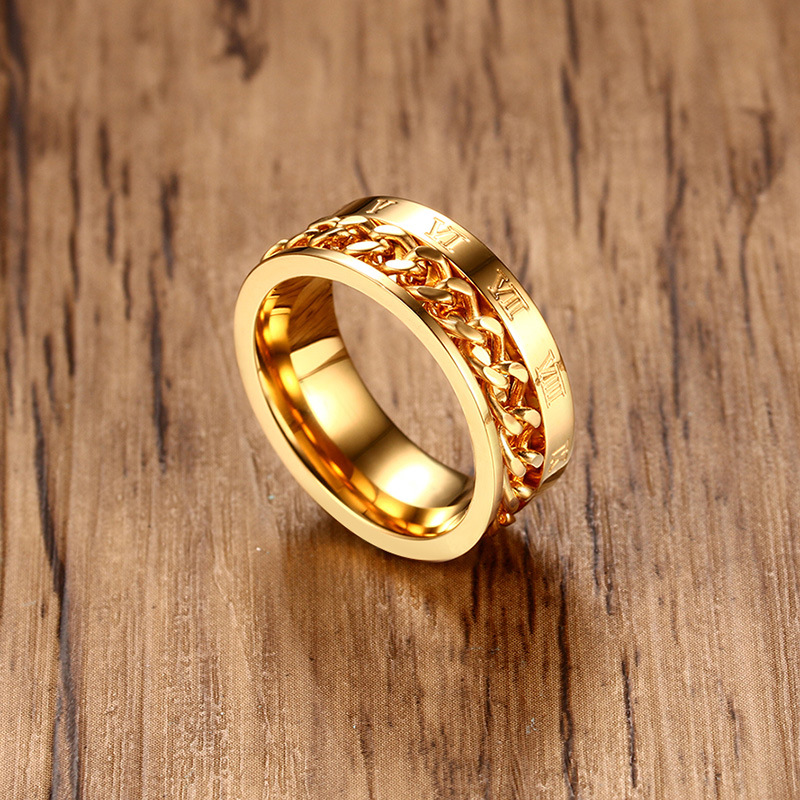 8mm Wide Men Gold Ring Jewelry Roman Numeral Chain Stainless Steel Rings
