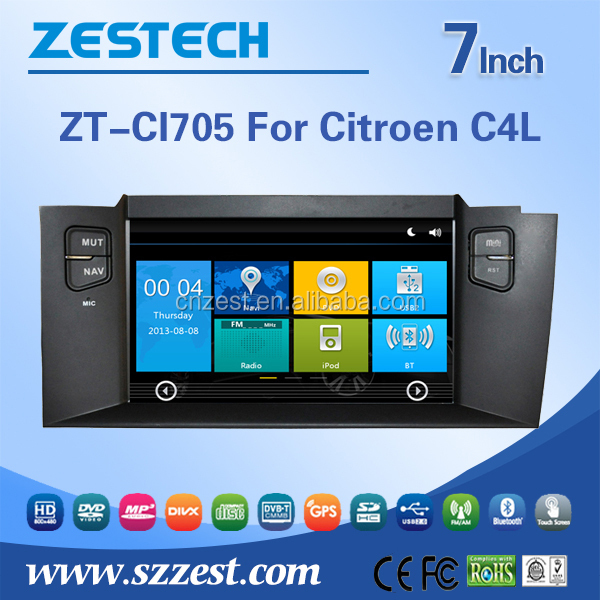 For Citroen C4L rohs car dvd with double din touch screen Gps Navigation system support DTV+BT+PHONE BOOK+OBD