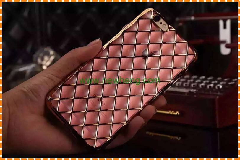 3D Diamond Grid Pattern Sheepskin Sheep Skin Deluxe Plated Plating Case TPU Cover For iPhone 5 5s 6 6s 7/7 Plus