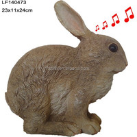 resin rabbit figure with motion sensor for home and garden decoration