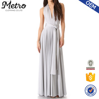 Women summer one piece white plain Convertible sexy Maxi Dress wholesale