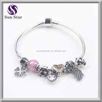 Competitive price factory wholesale 925 sterling silver charm with snake chain european bracelet