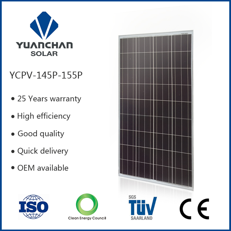 YuanChan CE & TUV Polycrystalline Silicon 150W Solar Panel For Cheap Price