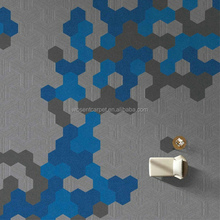 Free sample fireproof hexagon nylon stripe pvc backing carpet tile