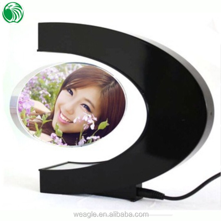 Two sides C shaped magnetic levitation photo frame with LED lights college graduation gifts
