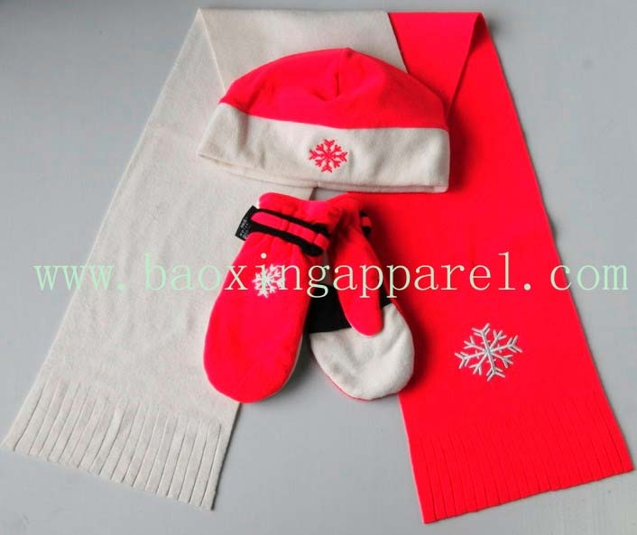 polar fleece 3-set: hat, scarf,gloves