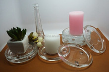 different size glass candle plate glass candle holder for rod wax