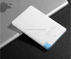 Ultra-slim 6mm credit card size super Slim Credit Card Business card built-in cable portable Power Bank color 1000 2600mAh
