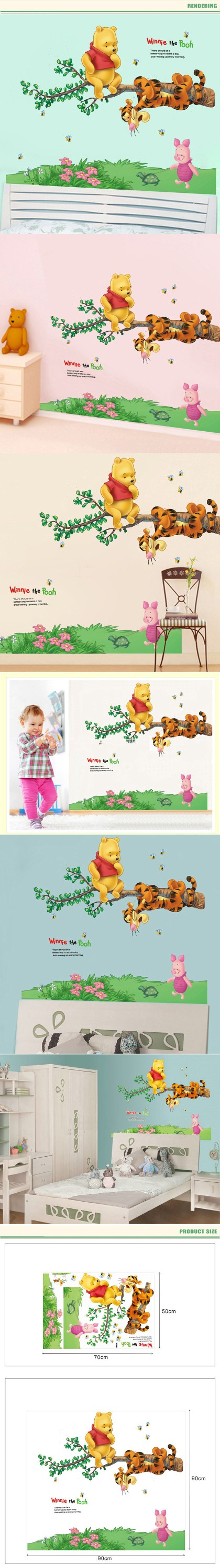 2016 PVC Wall Decor Decorative Removable Winnie the pooh wall stickers for kids