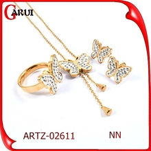 Lady's Multi Gems Clay Paved butterful Shaped Stainless Steel Gold Jewelry Set 2015