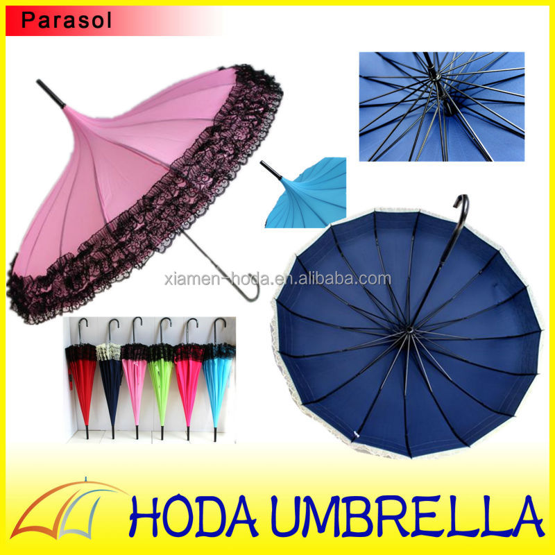 16 panel 2017 new model steel frame sun UV protection gothic pagoda umbrella with newest dress design for wedding and girls in b