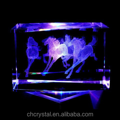 Horses 3D Laser Etched Crystal MH-TF060