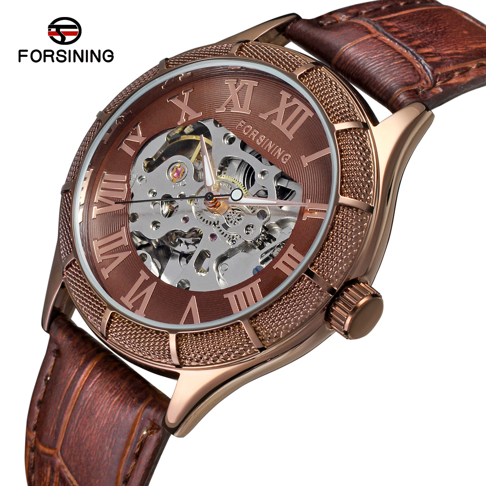 Wholesale China Forsining Leather Straps Vogue Coffee color Simple Skeleton Watch For Mens