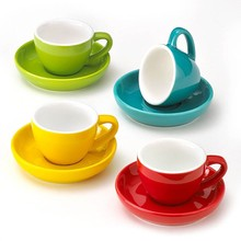 ceramic espresso cup with stainless steel saucer