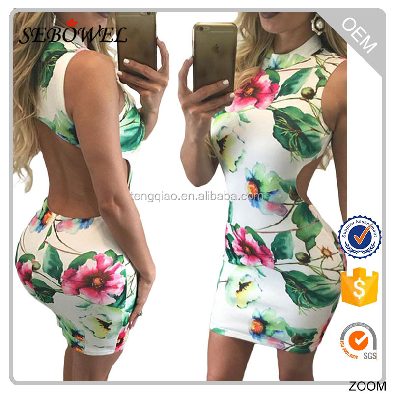 Vintage type back open floral print cheap price sexy short tight mini dress