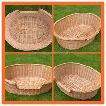 natural oval wicker dog bed basket