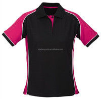 latest design black pink women polo shirts with custom made logo