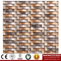 IMARK Wavy Shape Marble Mosaic by Gold Foil Mosaic Tiles and Painting Glass Mosaic Tiles Code IXGM8-066