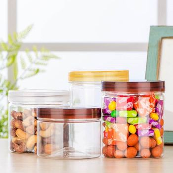 Factory price Plastic jar screw brown lids plastic jar food airtight plastic jar